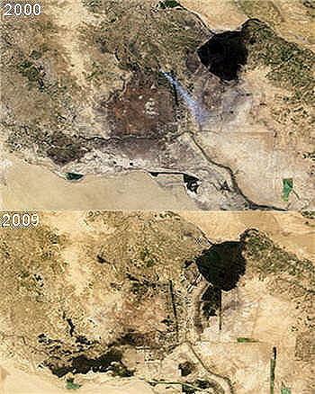 evolution des marais en mesopotamie (irak).