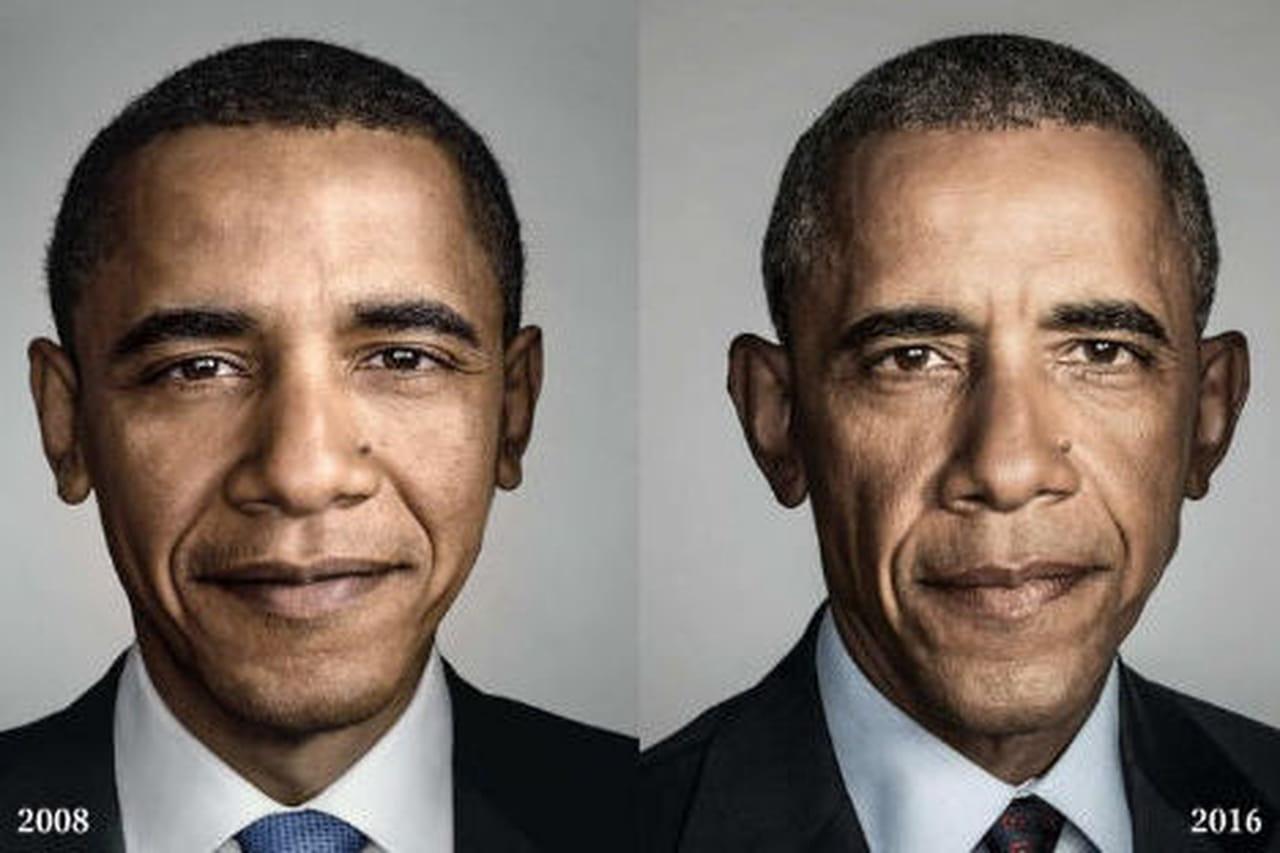 Avant/après: la photo de Barack Obama en début et fin de présidence
