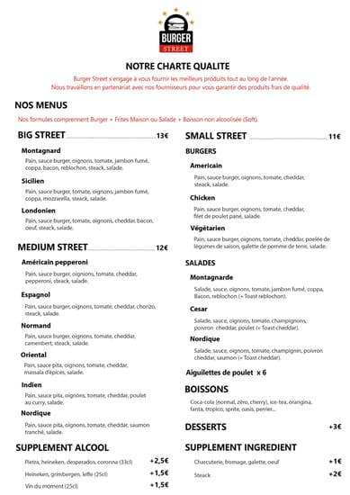 Restaurant : Burger Street  - Carte -   © Weenesta