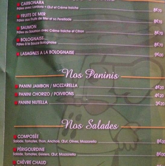 Restaurant : Trattoria Pizza  - Voici la carte des salades et des pâtes  -