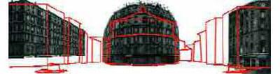 4 - 'les bâtiments des côtés sont des assemblages d'images par projection plane