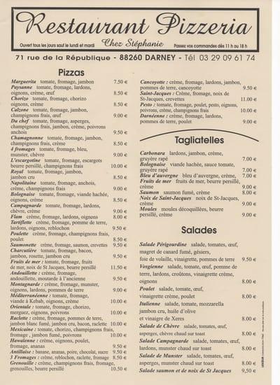 Restaurant Pizzeria Chez Stéphanie  - Ce tract concerne uniquement les pizzas, salades, et tagliatelles à emporter -