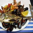Plat : Le P'tit bateau  - Dorade, calamars, gambas et moules -