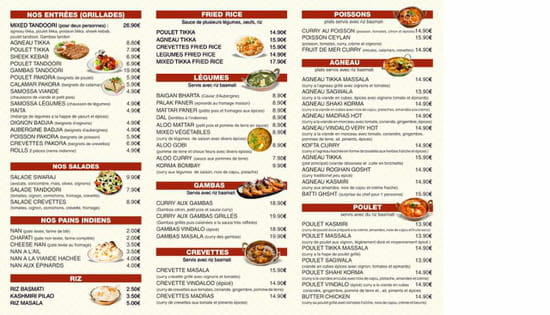 Le Swaraj  - Menu swaraj -   © Photo du menu