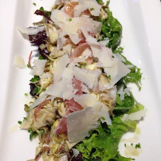Entrée : Le Gard 1895  - Salade d'artichauts épineux de ligure, jambon serrano, copeaux de parmesan -