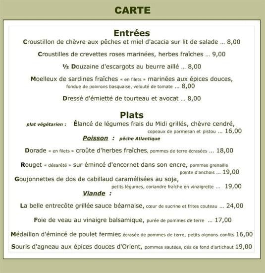 Caffe Jadis  - La carte -