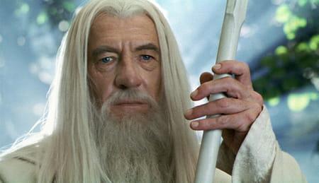 Ian McKellen dans le rôle de Gandalf dans la trilogie Le Seigneur des anneaux