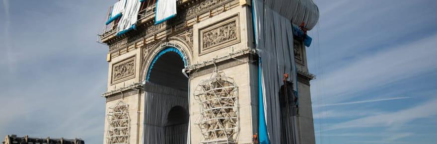 Inauguration de l'emballage de Christo à l'Arc de Triomphe ce samedi