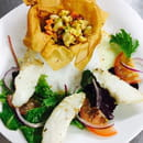 Entrée : Le relais de poste  - timabaline de poisson blanc, haricot coco mangue chorizo -   © LRDP18250