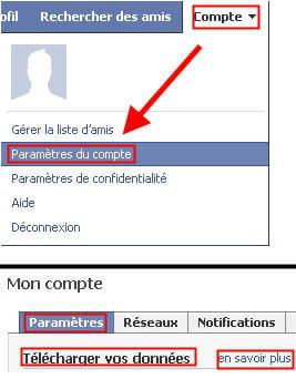 copie d'écran de la fonctionnalité télécharger vos données sur facebook.