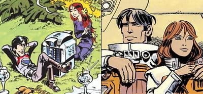 evolution graphique des héros : la 'cité des eaux mouvantes' (1970, à gauche) et