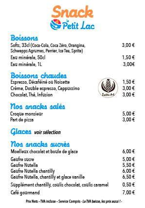Restaurant : Le Petit Lac  - carte du snack -   © lpl