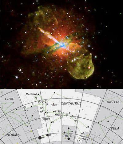 au-dessus : superbe image d'un trou noir massif dans la galaxie centaurus