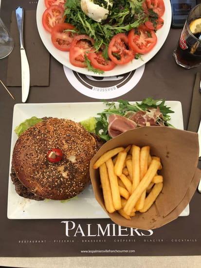 , Plat : Les Palmiers  - Triple Burger et Tomate Mozzarella -   © Les palmiers