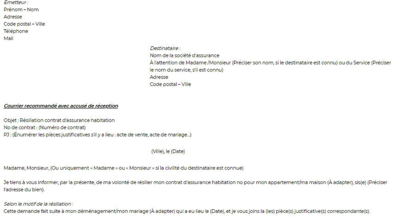 Lettre De Resiliation D Assurance Habitation Modele De Lettre