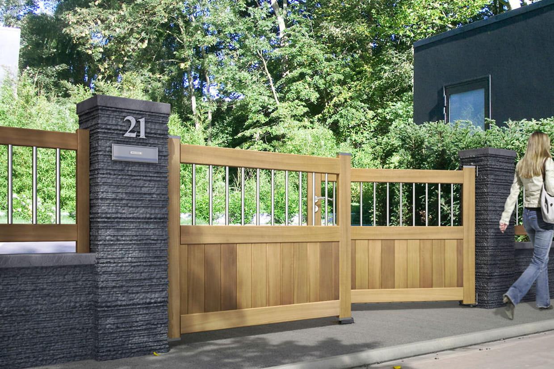 un portail en bois avec barreaux en inox. Black Bedroom Furniture Sets. Home Design Ideas