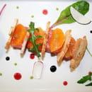 Restaurant le Safran Trets  - Gravlax de saumon au basilic, suprêmes de mandarines et toasts grillés -   © M. TAUPINARD (MEVIM)