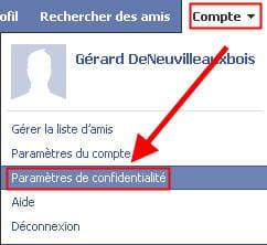 copie d'écran de l'option paramètres de confidentialité sous facebook.