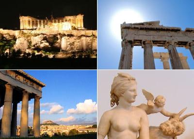 l'acropole de nuit, le parthénon, un temple et une représentation d'aphrodite et