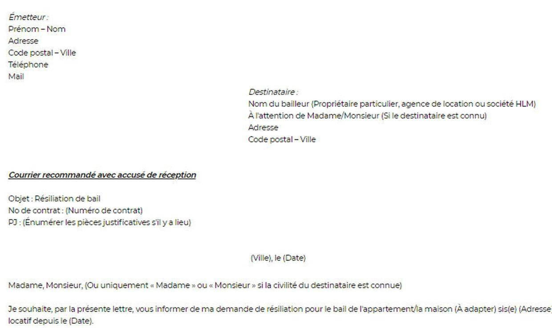 lettre de r u00e9siliation du bail   mod u00e8le de lettre pour
