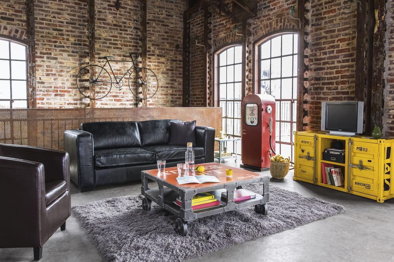 un canapé convertible pour style industriel