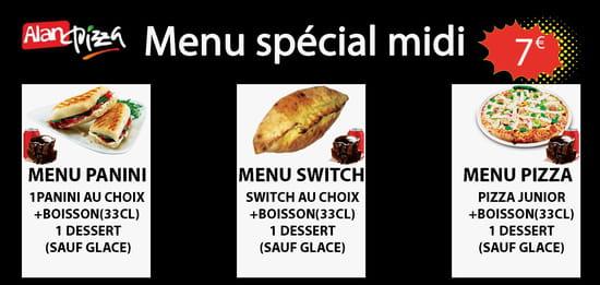 Plat : AlanPizza  - Menu Spécial midi : pizza, panini ou switch avec boisson offerts 33cl et 1 dessert -   © AlanPizza