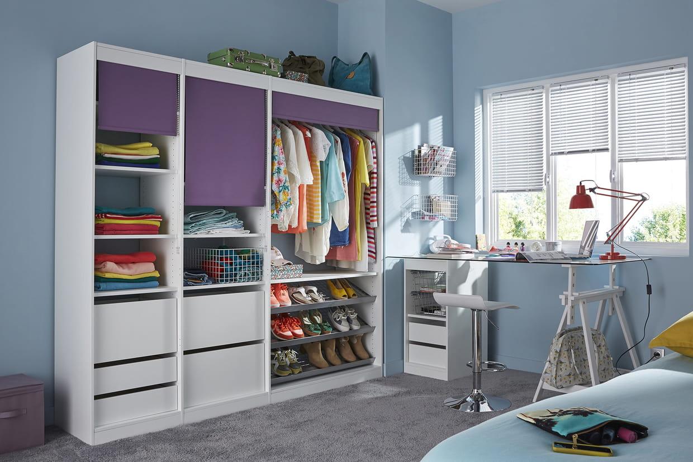 le concept perking avec store violet de castorama. Black Bedroom Furniture Sets. Home Design Ideas
