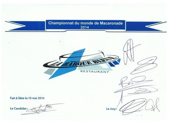 La Pomme de Pin  - 4 éme au Championnat du monde de macaronade Sètoise -