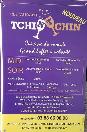 Restaurant : Tchin Tchin  - MENUS ET PRIX -