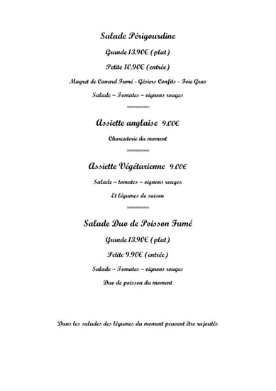 Plat : Le Bistrot  - salades -   © lebistrot