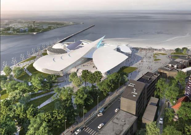 Maquette de la vue aérienne du nouveau Nausicaà