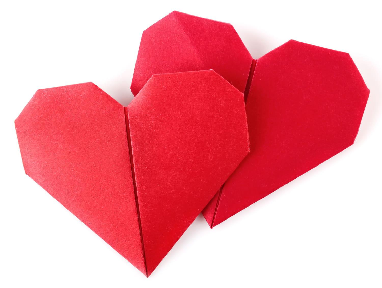 Faire un origami deux coeurs
