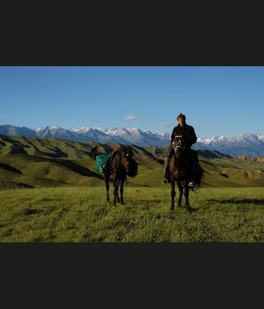 Cavalier des steppes en Asie centrale