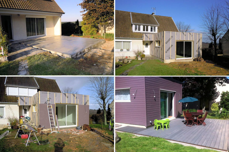 D couvrez la construction d 39 une extension en bois for Extension maison 3 murs