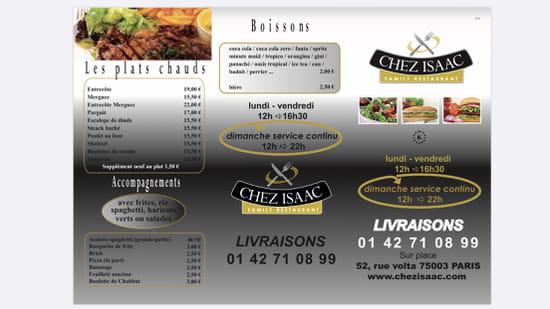 Restaurant : Chez Isaac  - menu -   © CHEZISAAC