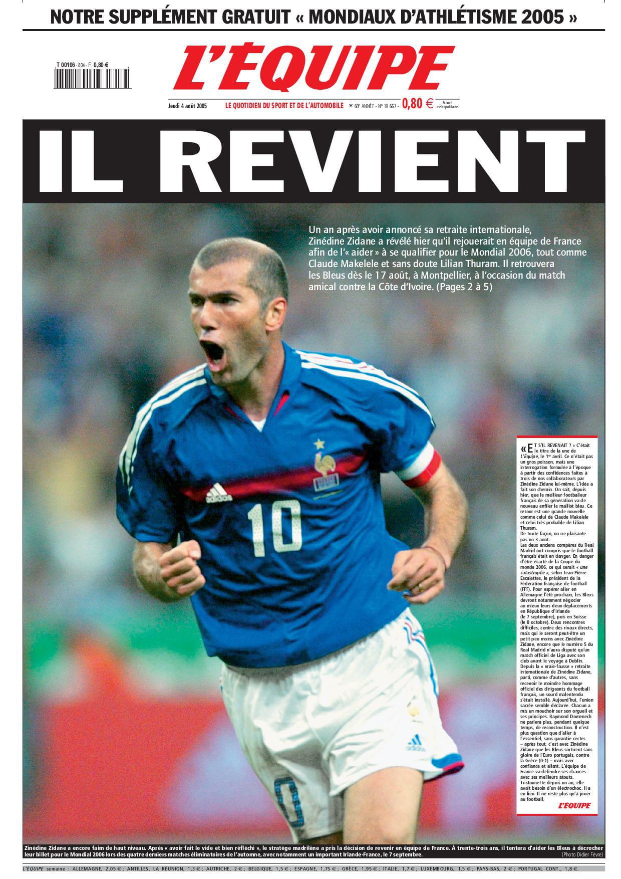"""Résultat de recherche d'images pour """"zidane il revient"""""""