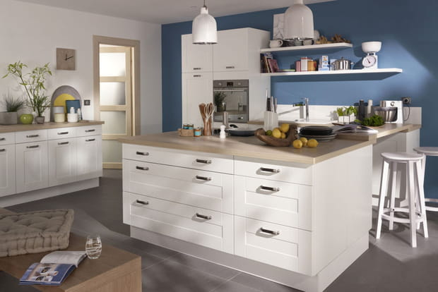 Lot de cuisine kadral de castorama for Deco de cocina azul blanco