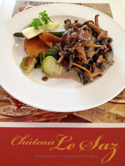 La Table des Chefs - Château Le Saz  - Côte de veau braisé, girolles, cèpes, légumes oublié -   © château le saz