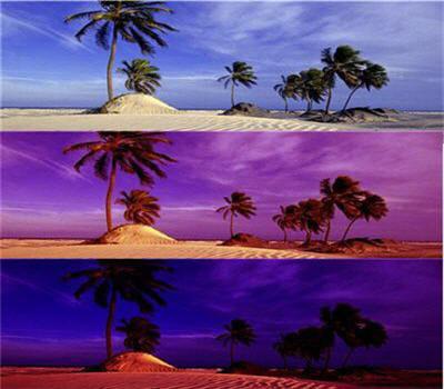 en haut, l'image originale, puis avec le filtre coucher de soleil et le filtre