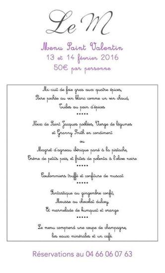 Le M  - Le menu de la saint Valentin ! -