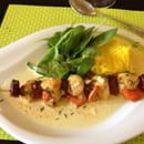 Plat : Chez Fanny  - Brochette de St. Jacques au chorizo et son riz  -