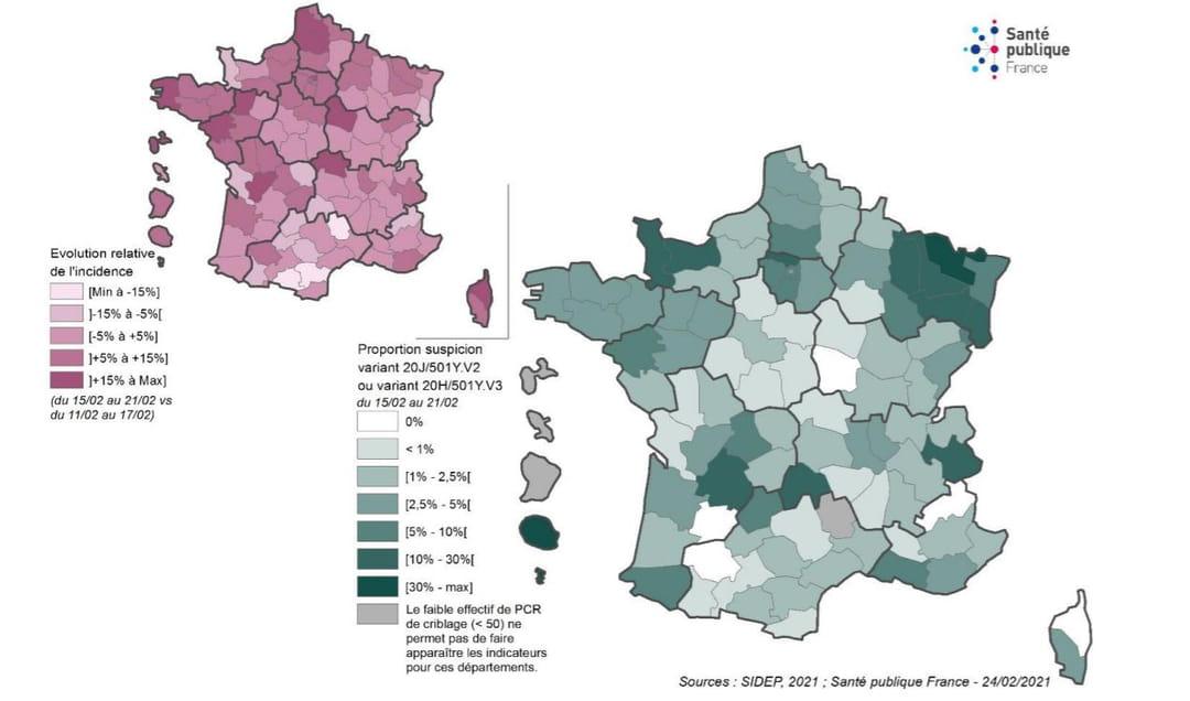 Carte variant sud-africain ou brésilien en France