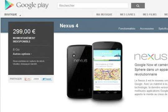 Nexus 4 : disponible ou pas ? La saga continue