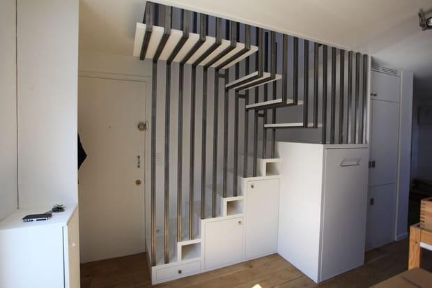 Dissimuler des rangements dans un escalier