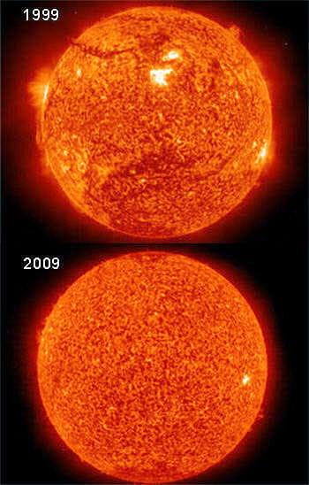 10 ans plus tôt, le soleil montrait une activité plus intense à sa surface que