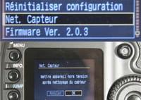 le menu sur canon pour accéder au nettoyage de votre capteur et bloquer le