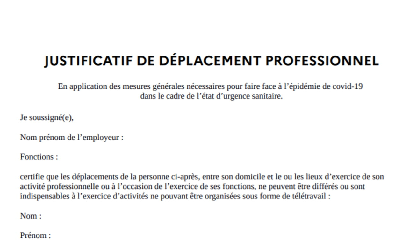 Attestation Employeur De Retour Ou Trouver Le Justificatif De Deplacement Professionnel