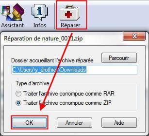 copie d'écran de la fonction réparer une archive sous winrar.