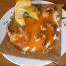 Les Blés d'Or  - crevettes grillées,flan potimarron/épinards,sauce armoricaine -
