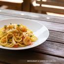 Plat : Le Jardin des Sablons  - Spaghetti Guitare Sauce Frutti di Mare -   © Les Sablons